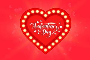 Happy Valentine's Day greeting card design with frame vector