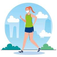 New normal of woman with mask running vector design
