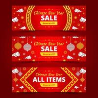 Chinese New Year Sale Web Banner Collection vector