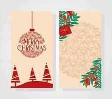 Merry Christmas card set with forest landscape vector