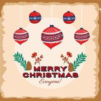 Merry Christmas card with ornaments hanging vector