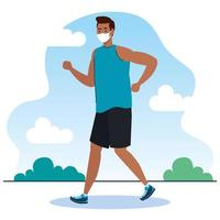 New normal of man with mask running vector design
