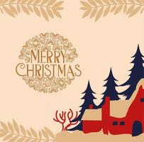 Merry Christmas card with houses and trees vector