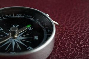 Compass on a red leather background