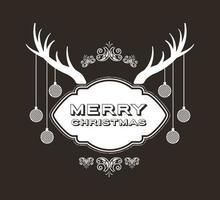 Feliz navidad tarjeta vintage con cuernos de reno vector