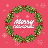 feliz navidad tarjeta vintage con corona vector