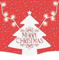 Merry Christmas card with pine tree vector