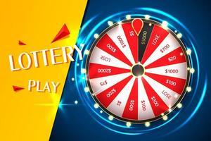 plantilla de banner de vector de rueda de fortuna giratoria de casino