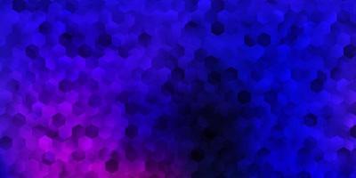 Dark pink, blue vector pattern with hexagons.