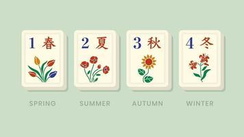 mahjong bonus temporadas azulejos florales vector