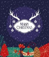 feliz navidad tarjeta con regalos vector