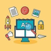 concepto de tecnología de marketing digital con computadora vector
