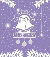 tarjeta de feliz navidad con campanas colgando vector