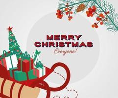 tarjeta de feliz navidad con trineo de santa vector