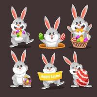 siéntete feliz con el paquete de conejos de pascua vector