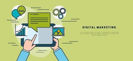 tecnología de marketing digital con plantilla de banner de tableta vector