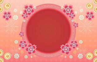 Beautiful Chinese New Year Flower Frame vector