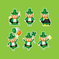 Set of Cute Leprechaun in Many Pose vector