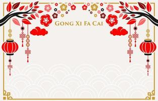simple flat design chinese ornament background vector