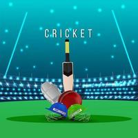 Cricket match concept with stadium and background vector