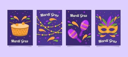 Mardi Gras Festivity Card Collection vector