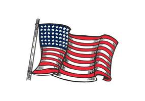 Hand drawn colorful American flag illustration isolated on white background. American flag element for emblem, logo, background, wallpaper or t-shirt.