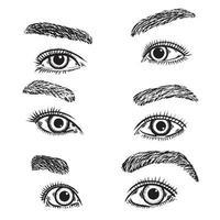 Set of woman eyes illustrations vector