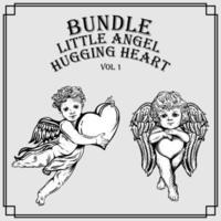 Set of little angel hugging heart illustration vector