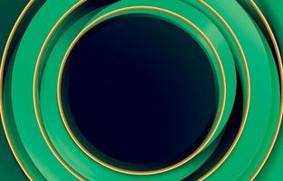 Circle Green Abstract and Gold Line vector