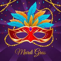 Mardi Gras Festivity Mask and Beads vector