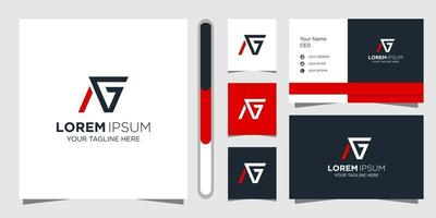 Letter AG logo design and business card