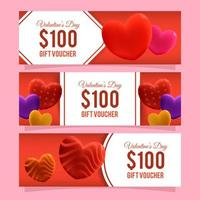 Realistic Valentine Voucher Collection vector