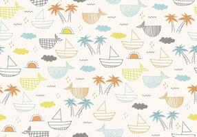 Seamless pattern with ships, fish, sun, clouds, sea and waves. vector