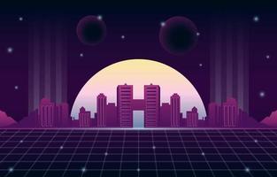 Retro Futurism Background with Modern Cityscape Scenery