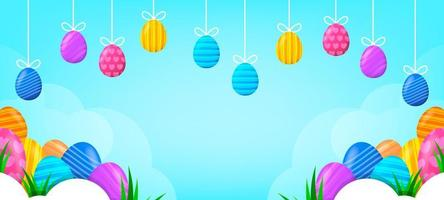 Cute Colorful Easter Eggs Background vector