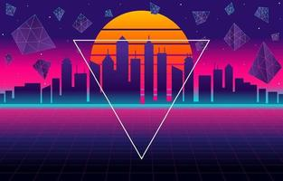Space Retro Futurism City Background with Modern Elements vector