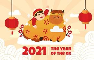2021 Golden Ox Flat Illustration on Chinese New Year vector