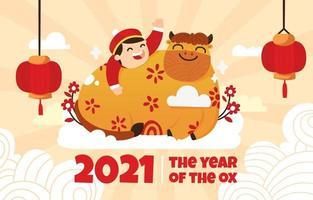2021 ilustración plana de buey dorado en año nuevo chino vector