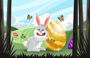 Huge Easter Egg and Happy Rabbit vector