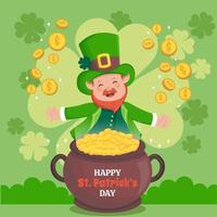 Smiling Leprechaun with a Bowl Full of Gold vector