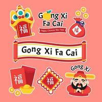 Gong Xi Fa Cai Cute Cartoon Sticker vector