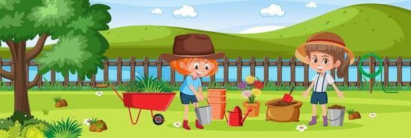 niñas jardinería en la naturaleza vector
