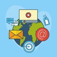 tecnología de marketing digital con el planeta tierra. vector