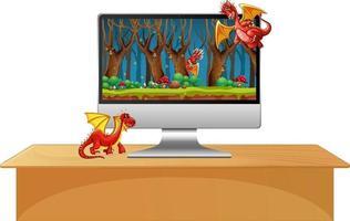 Monitor de computadora sobre la mesa con personaje de dibujos animados de dragón en la pantalla vector