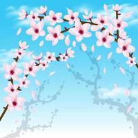 Cherry Blossom Realistic Wallpaper vector