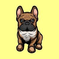 French puppy mascot vector