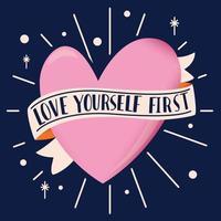 forma de corazón con cinta y mensaje de amor con letras a mano. Ilustración colorida dibujada a mano para el feliz día de San Valentín. tarjeta de felicitación con elementos decorativos. vector