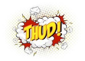 Word Thud on comic cloud explosion background vector