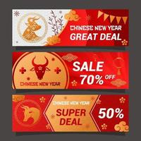 Chinese Gold Ox New Year Business Banner vector