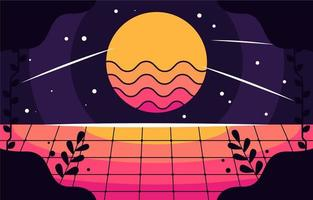 Flat Retro Futuristic Background vector